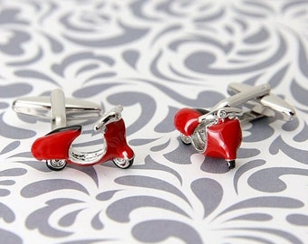 ON SALE Red Scooter Cufflinks