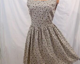 PAISLEY FLOWERS summer dress - floral cotton sundress - full skirt sz M
