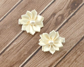 Ivory Flower Hair Clips, Bridal Hair Clips, Small Flower Hair Clips, Flower Girl Hair Clips, Flower Girl Clips, Ivory Hair Clips, Ivory Bows