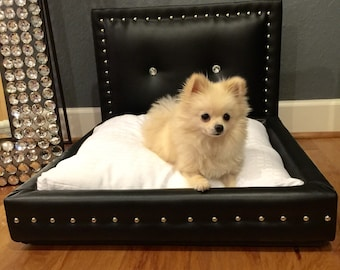 Black Dog Bed With Diamon Buttons