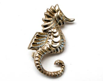 Silver sea Horse brooch - Silver plated - Figurine sea life pin