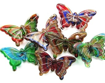 Butterfly Pendant Multicolor Glass Pendant 60 x 40 mm Butterfly Lampwork Pendant Jewelry Supply