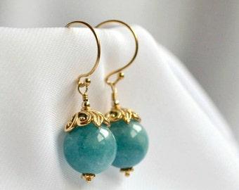 Angelite earrings, vermeil light blue drop earrings, bridesmaid's gift, something blue wedding earrings, handmade gemstone jewelry