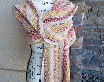 Handwoven Cotton/Bamboo/Linen Sunset Beach Shawl