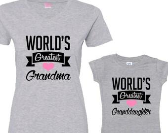 World's Greatest Grandma - World's Greatest Granddaughter Heather Shirt Set
