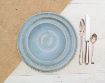 Handmade Dinnerware Set - Place Setting - Including: 1 x Dinner Plate, 1 x Side Plate and 1 x Bowl - Calm Seas Blue Glaze - Made to Order
