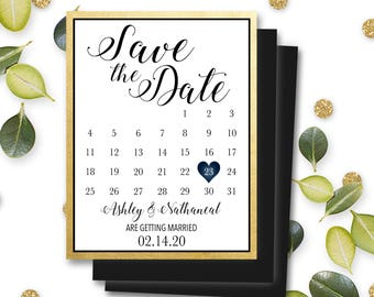 Magnet Save the Date Invitations Mark Calendar Personalized Customizable Fridge Magnet Wedding Marriage Engagement Envelope Included #MSD9