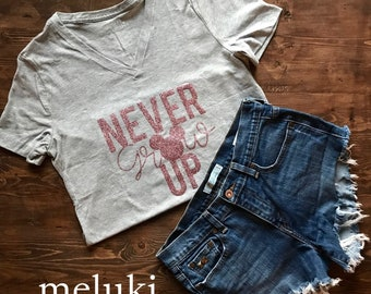 Rose Gold - Never Grow Up - Peter Pan - Mickey Mouse - Disney World - Disneyland - Disney Gifts - Glitter Shirt - Tank Top