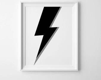 Boys nursery decor, playroom wall art, lightning bolt print, Scandinavian art, boys room decor, Scandinavian modern, affiche scandinave