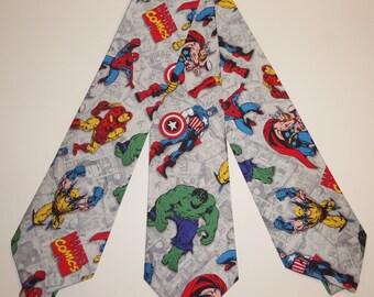 Marvel Comic Avenger's Inspired Adult Neckties Heroes on Grey Sketch Background