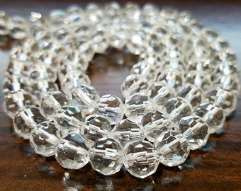 40 Clear Faceted Glass Beads 8MM round beads (H2418)