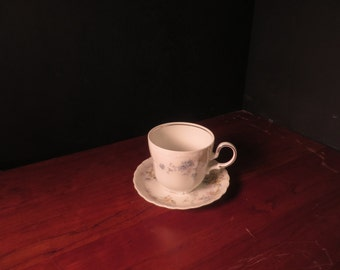 Haviland fine china tea cup and saucer with blue flowers