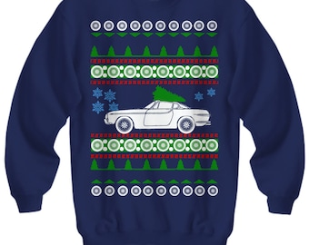Volvo 1800 Ugly Christmas Sweater Sweatshirt cars holidays swedish gift for volvo owner retro cars vintage old school xmas