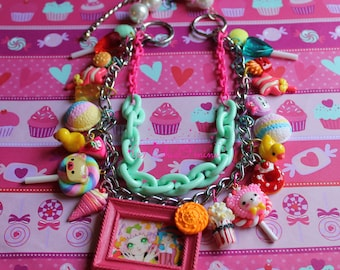 Carnival Candy Land Chain Charm Necklace: Kawaii, Fairy Kei, Neon, Whimsical, Tea Party, Dessert