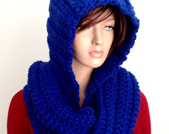 Royal Blue Crochet Scoodie. Blue Hooded Scarf. Chunky Hooded Winter Scarf