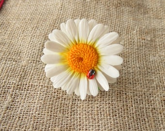 Daisy ring ladybug ring polymer clay jewelry white flower ring white jewelry floral jewelry gift for her chamomile ring wedding jewelry