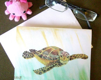 Sea Turtle Greeting Card - Watercolor - Blank Card - What are you lookin' at