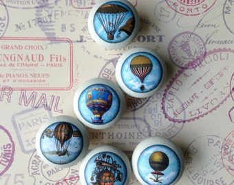 Balloon handles | decoupaged handles | set of 6 handles | drawer knobs