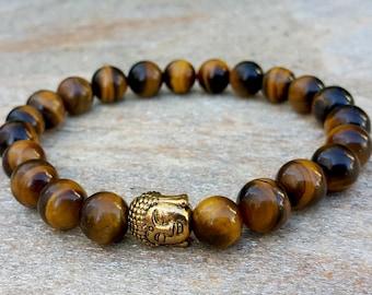 Tiger's Eye Bracelet Buddha Bracelet Stone Bracelet Meditation Reiki Healing Bracelet Mantra Bracelet Yoga Mala Bracelet Spiritual Bracelet