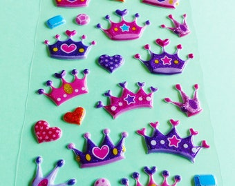 puffy stickers puffy Crown Princess Queen pink and purple glitter heart 3D stickers