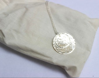 Hammered discs - double disc sterling silver pendant