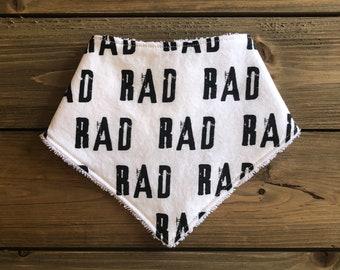 Baby Bandana Bib - Rad Print - Black and White Cotton Rad Bandana Bib - Baby Shower Gift