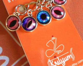 Tiger / dragon eye / evil eye Stitch Markers for knitting - Set of 5 - charms - earrings