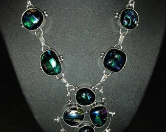 Dichroic Glass Bib Necklace