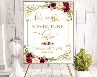 Burgundy Let the Adventure Begin Welcome Floral Wedding Sign, Custom Welcome Wedding Decor Printable Sign, Floral Boho Chic, digital, #LC