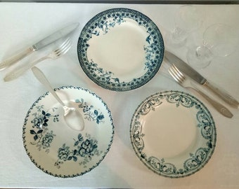 Set of plates, Terre de fer tinted blue manufacture French french old earthenware