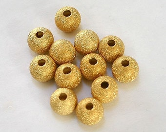 24pcs Metal Bead Round 8mm Gold Plated Brass Stardust