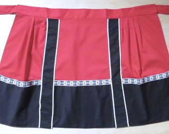 Vintage retro 60s 70s half apron Imutex red white trim black border with pockets