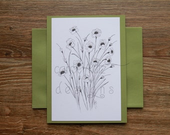 Wildflowers Coloring Blank A6 Greeting Card with Envelope ? Original Ink Drawing Print / Coloring Card / All Occasion / Blank Greeting Card