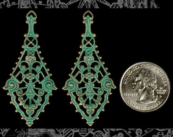 Long Verdigris Plated Brass Filigree Wrap Set of Two XXX * V-W04