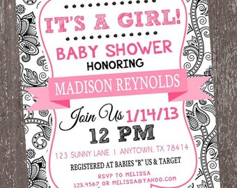 Black and White Floral It's a Girl Baby Shower Invitation - 1.00 each with envelope