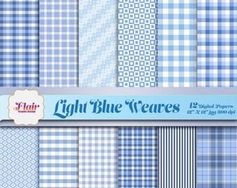80% OFF LIGHT BLUE Weaves Digital Paper, Gingham, Plaid, Stripes, Color Blue, Pastels, Beach Blue, Sky Blue, Scrapbooking, Supplies