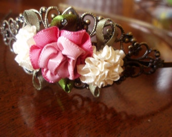 SALE - Headband - Lovely Pink and Ivory Ribbon Roses - Filigree Antiqued Brass Metal Headband - Prom, Wedding, Party Hair Accessory