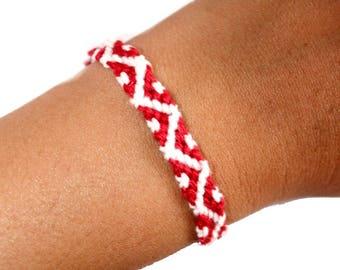 """Friendship Bracelet model """"Oceania"""", unisex, white and Red"""