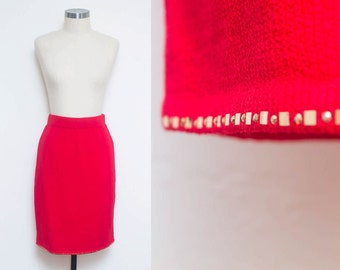 Red Knit Skirt // Highwaist Pencil Skirt // 80s St John Marie Grey Gold Metallic Detail Trim Dressy Casual Chic Sweater Skirt Size 4 6 Small