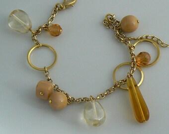 Czech Glass Charm Bracelet  Unique vintage, antique, costume and estate jewelry.