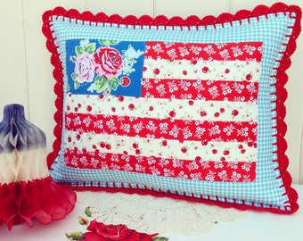 pretty floral flag hand quilted pillow cover 12x16-made to order