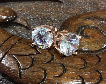 925 Sterling Silver Rose Gold Plated Synthetic Birthstone Earring.