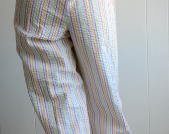 NEW LISTING Orvis Size 8 Pastel Stripes Crinkle Fabric Capri Pants with Ankle Ties, Clown Pants/Rainbow Brite/Pastel Pants