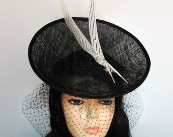 Black and white hat, black wedding hats, white derby hat, womens black hat, hat with veil, white ascot hat, custom hats, black birdcage veil