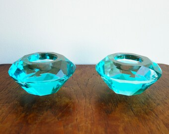 Pair of Mid-Century Turquoise Crystal Glass Geometric Candle Holders