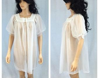 Vintage Sheer White Peignoir Nylon Cover-Up. Robe. Lingerie. Lace. Nylon Lingerie. Bridal. Wedding. Bride Lingerie. Under 30. Pajamas.