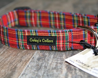 """Custom Dog Collar, Plaid Dog Collar, Tartan Dog Collar, Dog Collars, Boy Dog Collar, Girl Dog Collar, Male Dog Collar, """"The Tartan"""""""