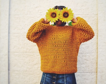 The Sunflower Crochet Sweater Pattern. Instant Download!