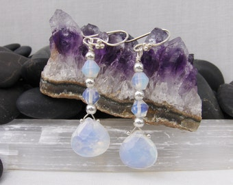 Opalite Briolette and Sterling Silver French Hook Earrings