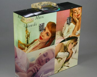 """Vinyl LP 12-inch Record Carry Case - """"Restful Good Music"""" - Handmade From Vintage Records"""